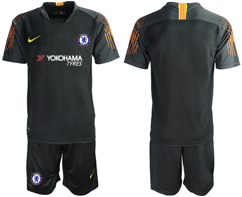 Men 2018_2019 Club Chelsea black goalkeeper soccer jerseys