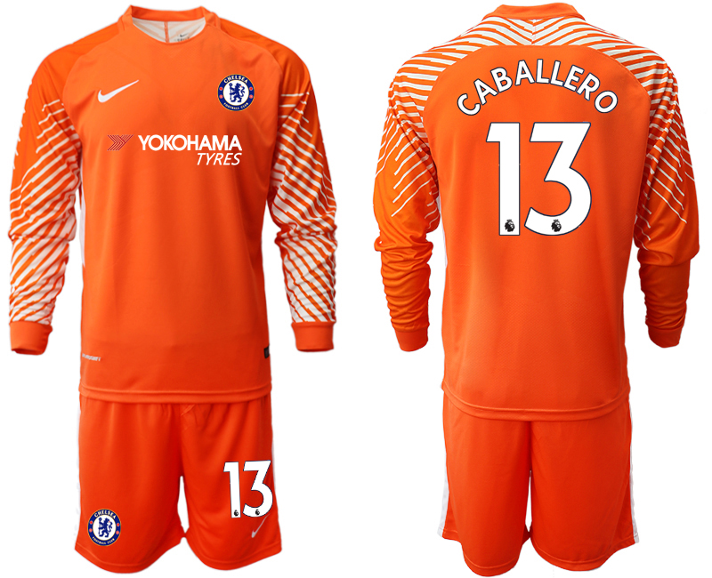 Men 2018_2019 Club Chelsea orange goalkeeper long sleeve 13 soccer jerseys