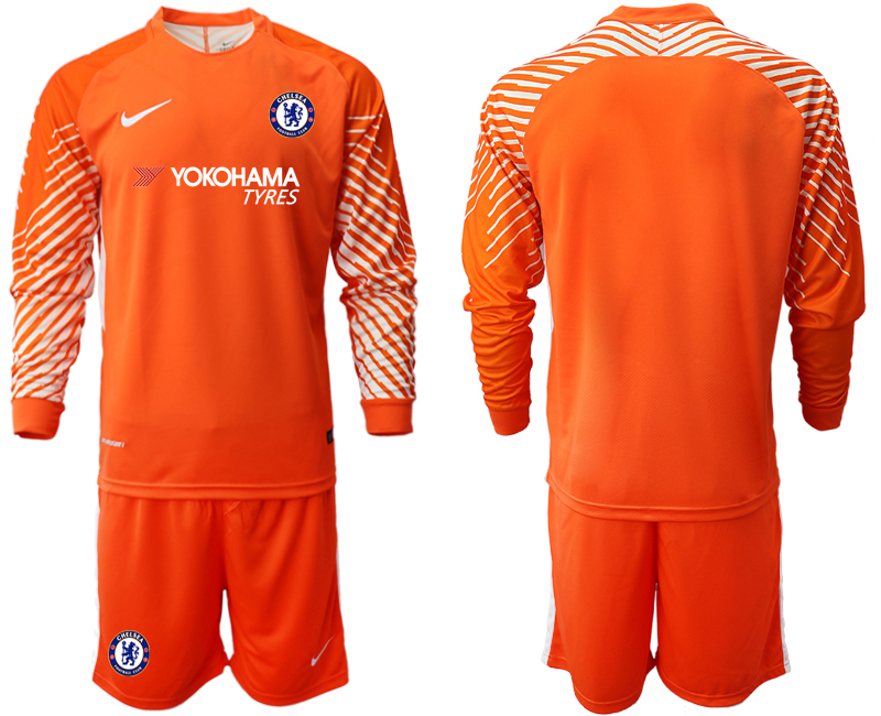 Men 2018_2019 Club Chelsea orange goalkeeper long sleeve soccer jerseys