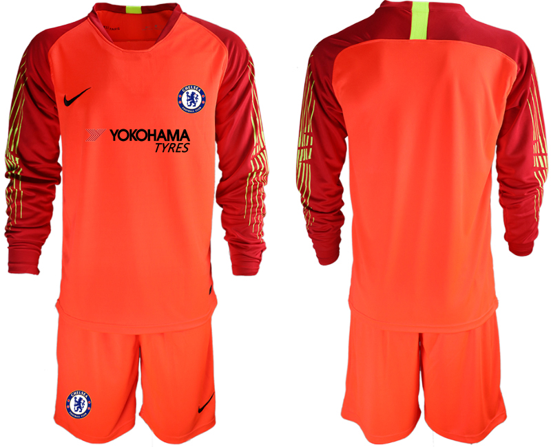 Men 2018_2019 Club Chelsea red goalkeeper long sleeve soccer jerseys