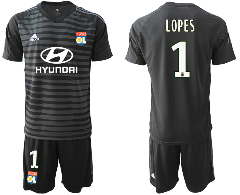 Men 2018_2019 Club Olympique Lyonnais black goalkeeper 1 soccer jerseys