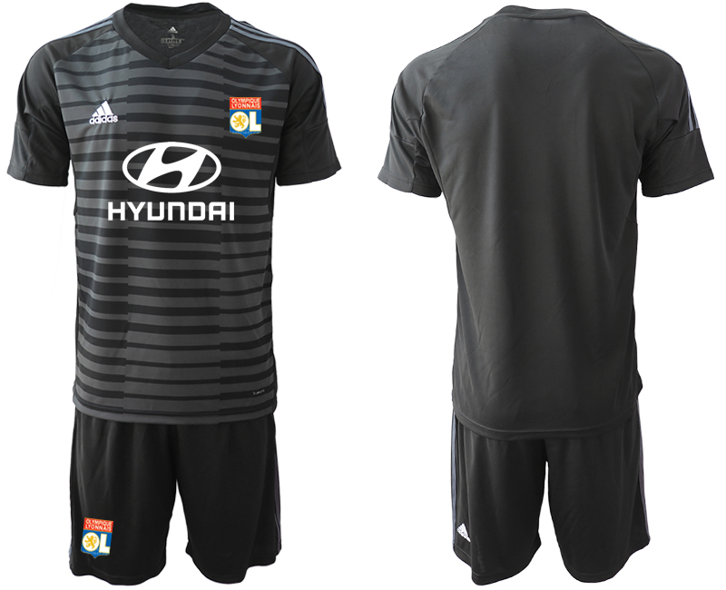 Men 2018_2019 Club Olympique Lyonnais black goalkeeper soccer jerseys