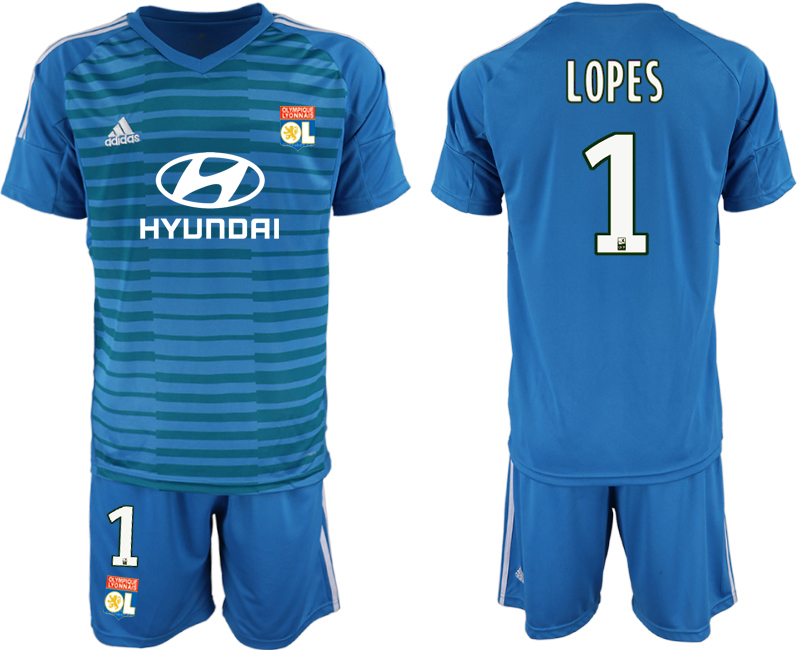 Men 2018_2019 Club Olympique Lyonnais blue goalkeeper 1 soccer jerseys