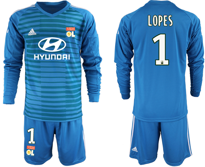 Men 2018_2019 Club Olympique Lyonnais blue goalkeeper Long sleeve 1 soccer jerseys