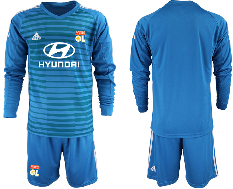 Men 2018_2019 Club Olympique Lyonnais blue goalkeeper Long sleeve soccer jerseys
