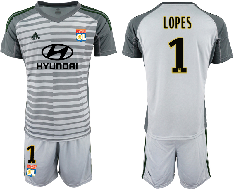 Men 2018_2019 Club Olympique Lyonnais gray goalkeeper 1 soccer jerseys