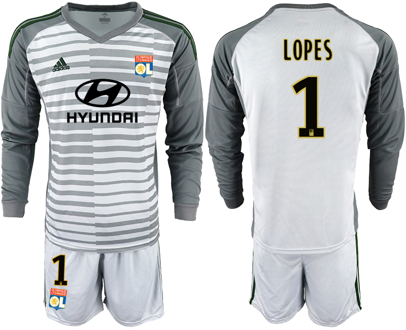 Men 2018_2019 Club Olympique Lyonnais gray long sleeve goalkeeper 1 soccer jerseys