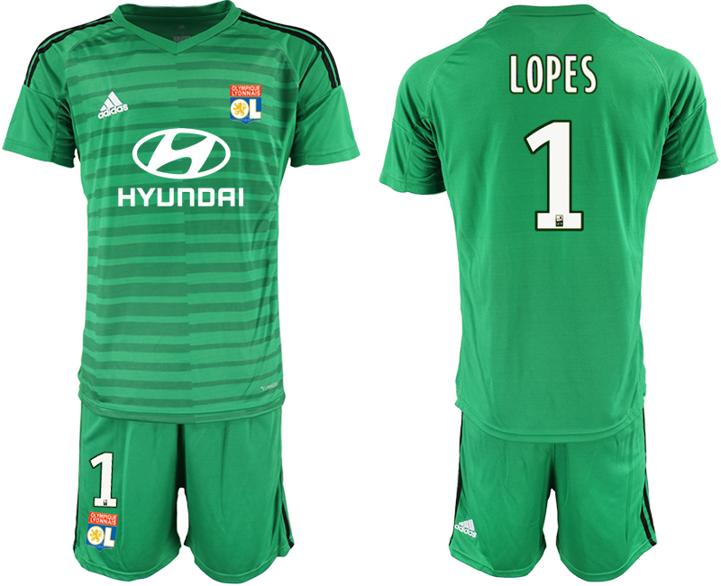 Men 2018_2019 Club Olympique Lyonnais green goalkeeper 1 soccer jerseys