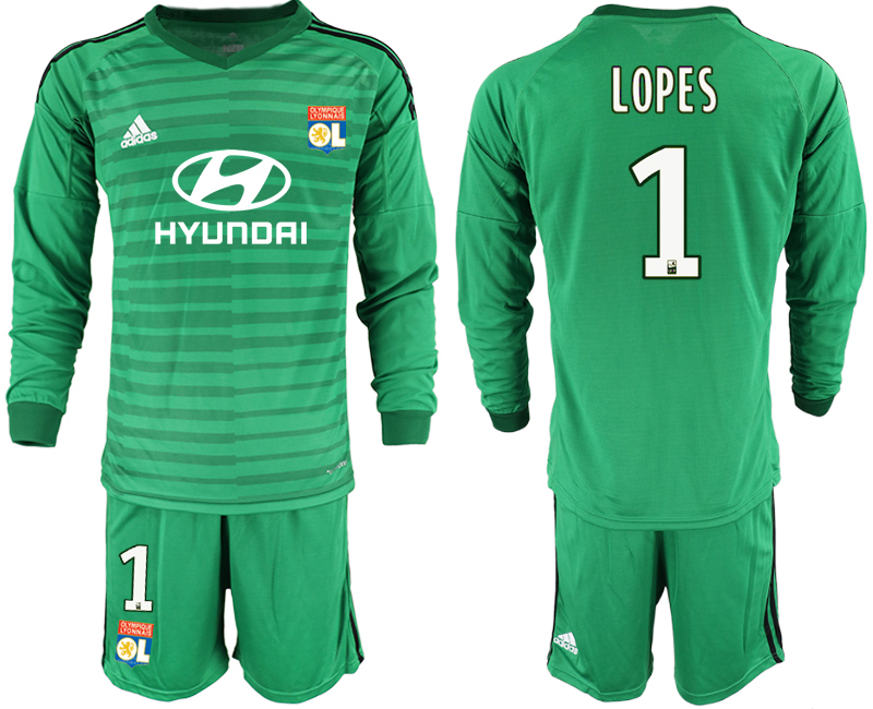 Men 2018_2019 Club Olympique Lyonnais green long sleeve goalkeeper 1 soccer jerseys