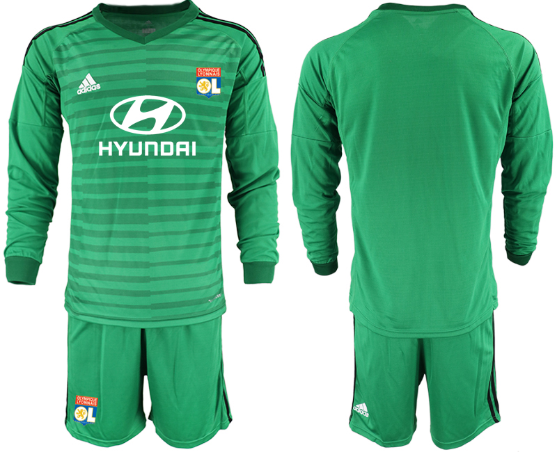 Men 2018_2019 Club Olympique Lyonnais green long sleeve goalkeeper soccer jerseys