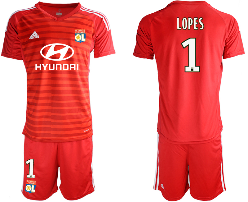 Men 2018_2019 Club Olympique Lyonnais red goalkeeper 1 soccer jerseys