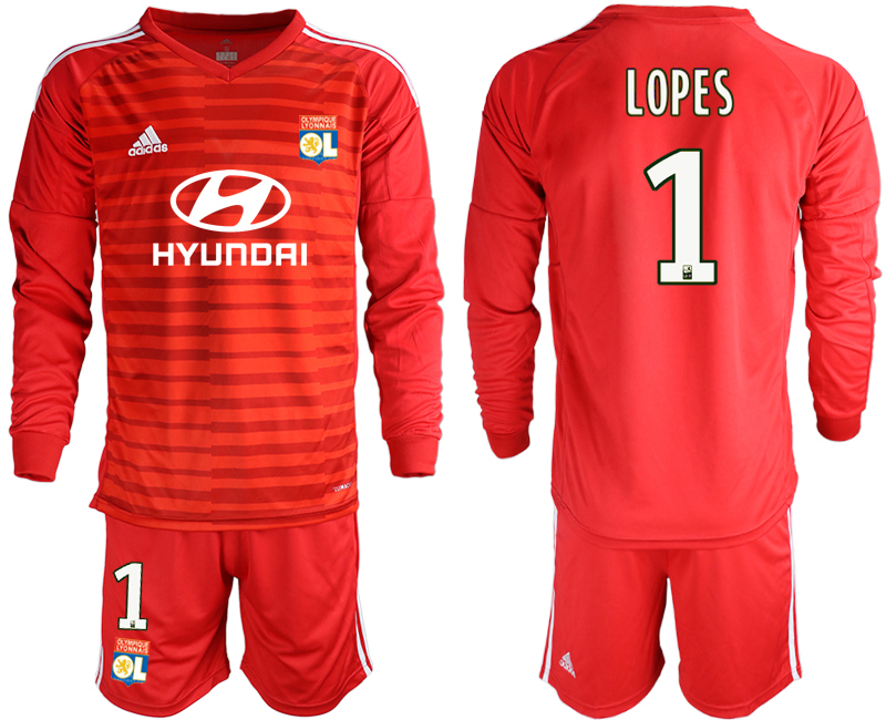 Men 2018_2019 Club Olympique Lyonnais red long sleeve goalkeeper 1 soccer jerseys