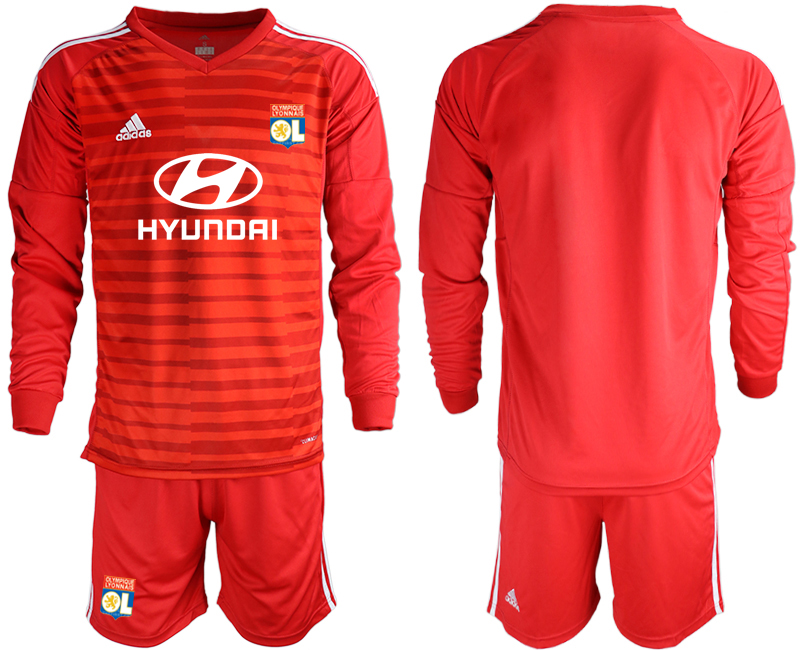 Men 2018_2019 Club Olympique Lyonnais red long sleeve goalkeeper soccer jerseys