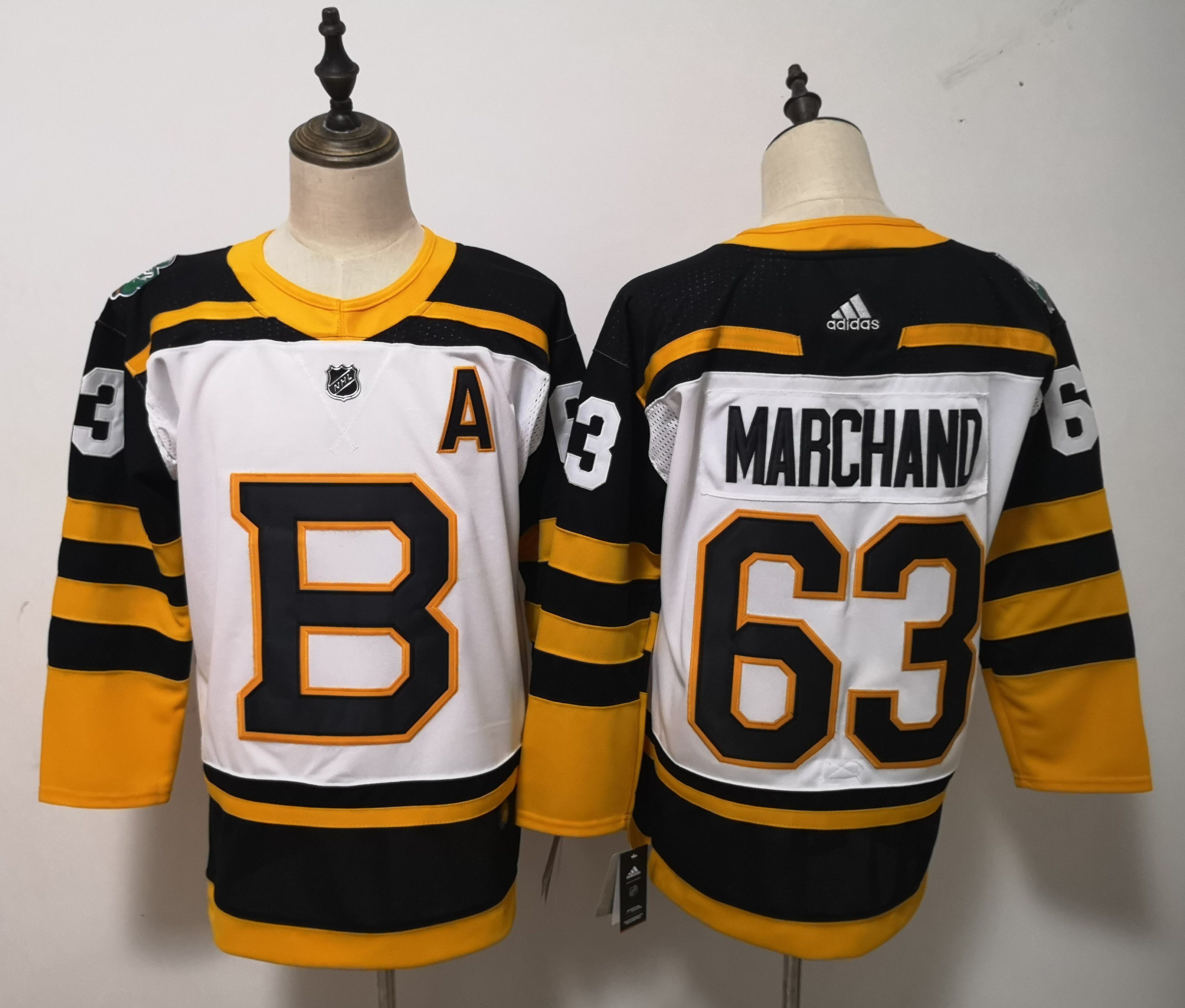 Men Boston Bruins 63 Marchand White Adidas Authentic Winter Classic NHL Jersey