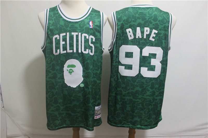 Men Boston Celtics 93 Bape Green Stitched NBA Jersey