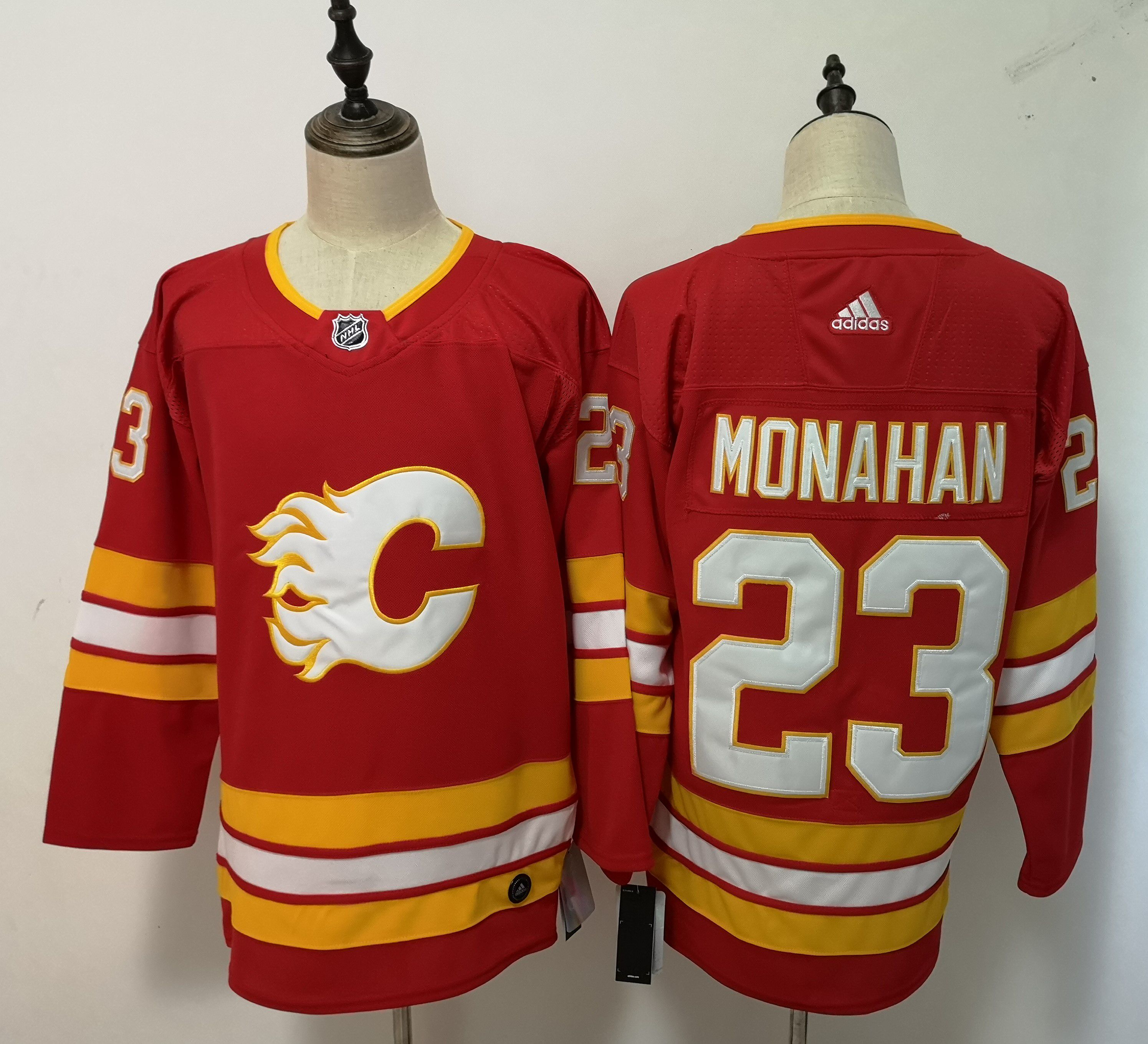 Men Calgary Flames 23 Monahan Red Adidas Alternate Authentic Stitched NHL Jersey
