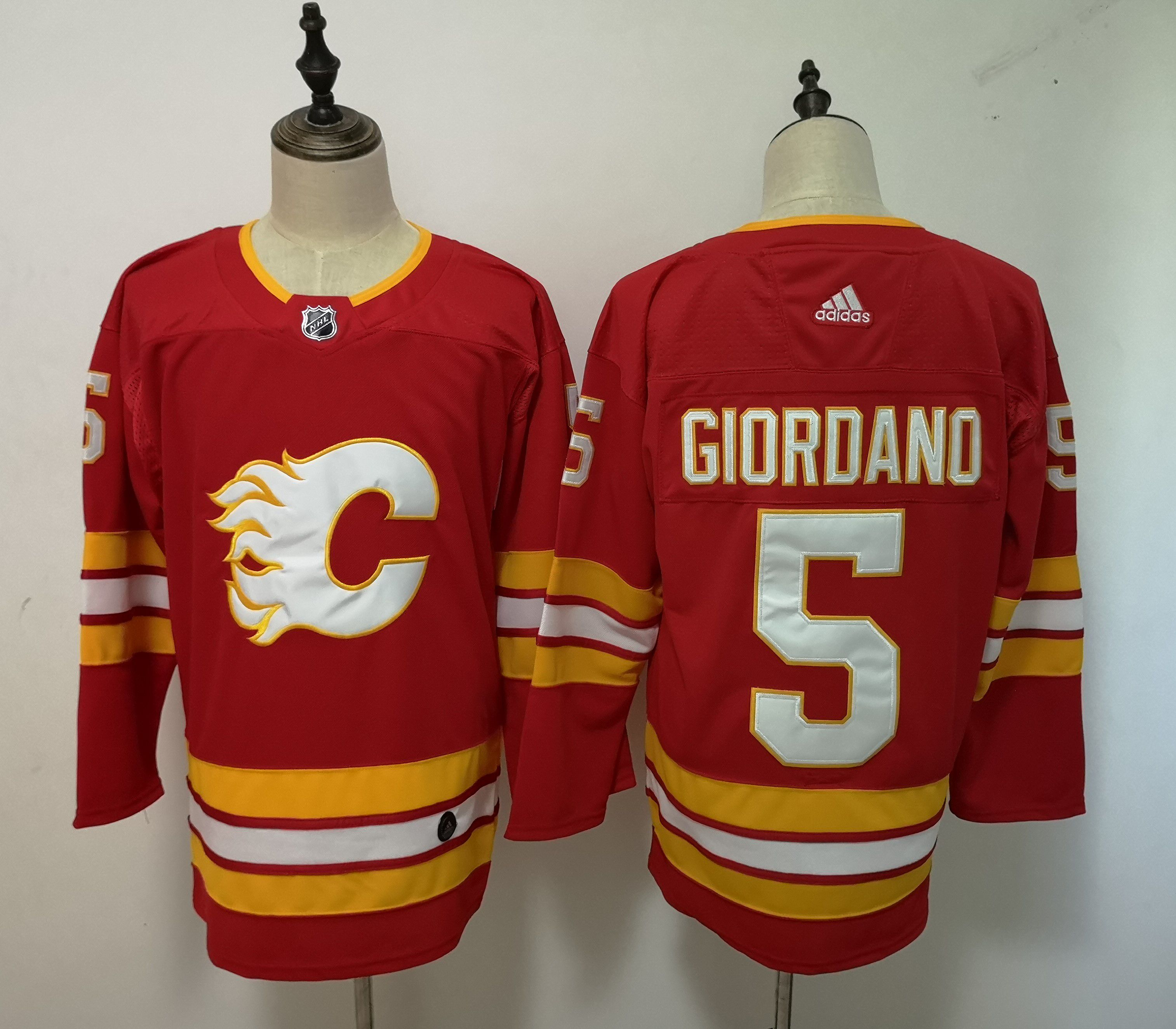 Men Calgary Flames 5 Giordano Red Adidas Alternate Authentic Stitched NHL Jersey