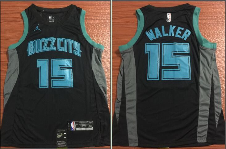 Men Charlotte Hornets 15 Walker Black City Edition Game Nike NBA Jerseys