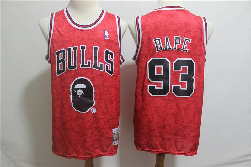 Men Chicago Bulls 93 Bape Red Stitched NBA Jersey