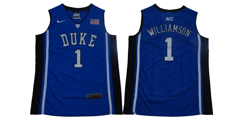 e6a10708e5a Men Duke Blue Devils 1 Zion Williamson Blue Basketball Elite Stitched NCAA  Jersey