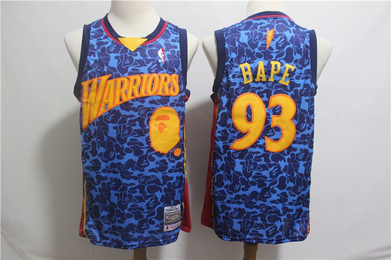 Men Golden State Warriors 93 Bape Blue Stitched NBA Jersey