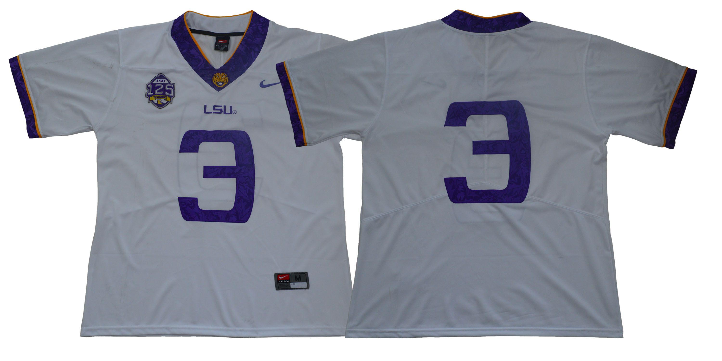 Men LSU Tigers 3 No name White Stitched NCAA Jersey