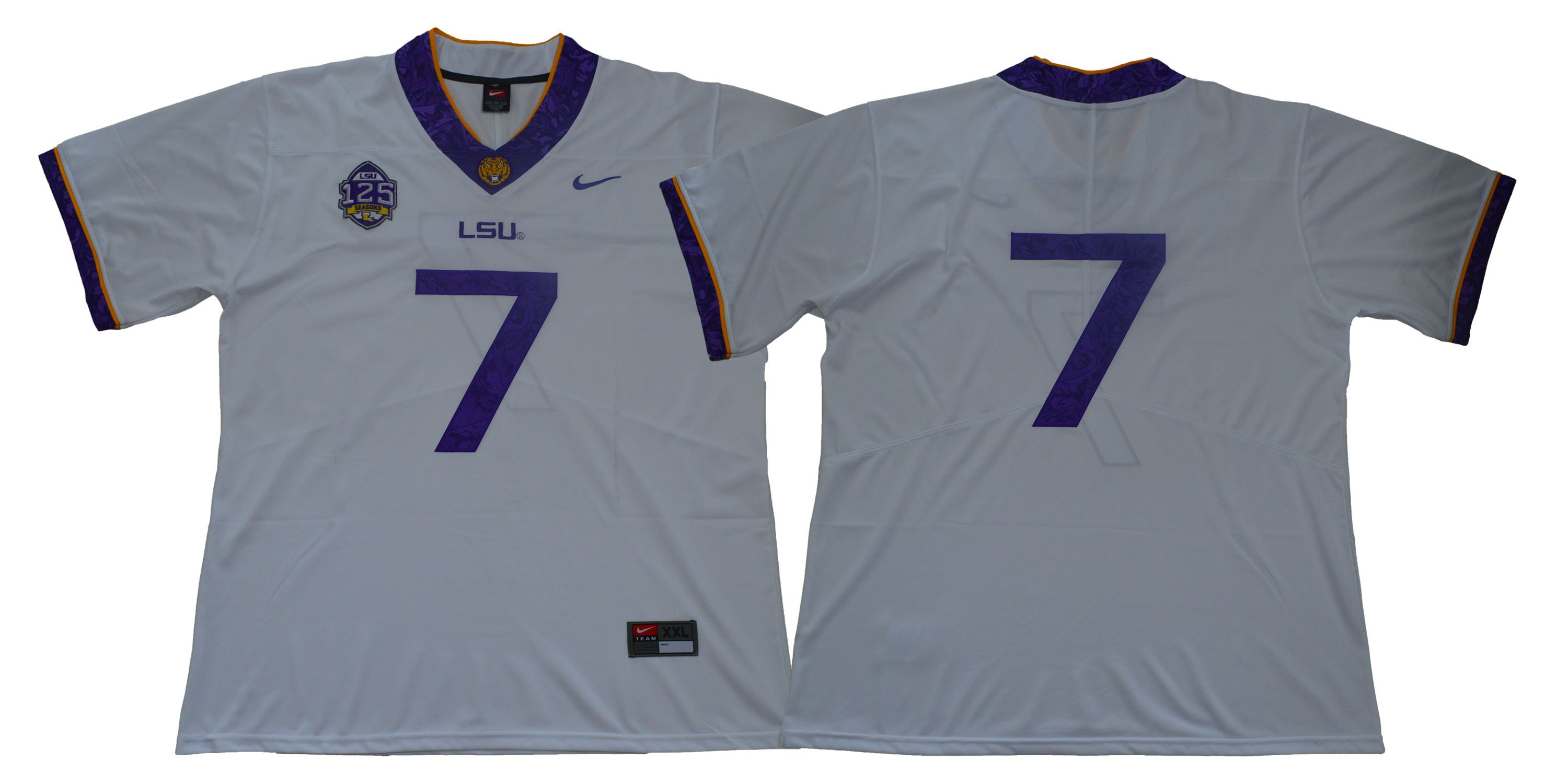 Men LSU Tigers 7 No name White Stitched NCAA Jersey