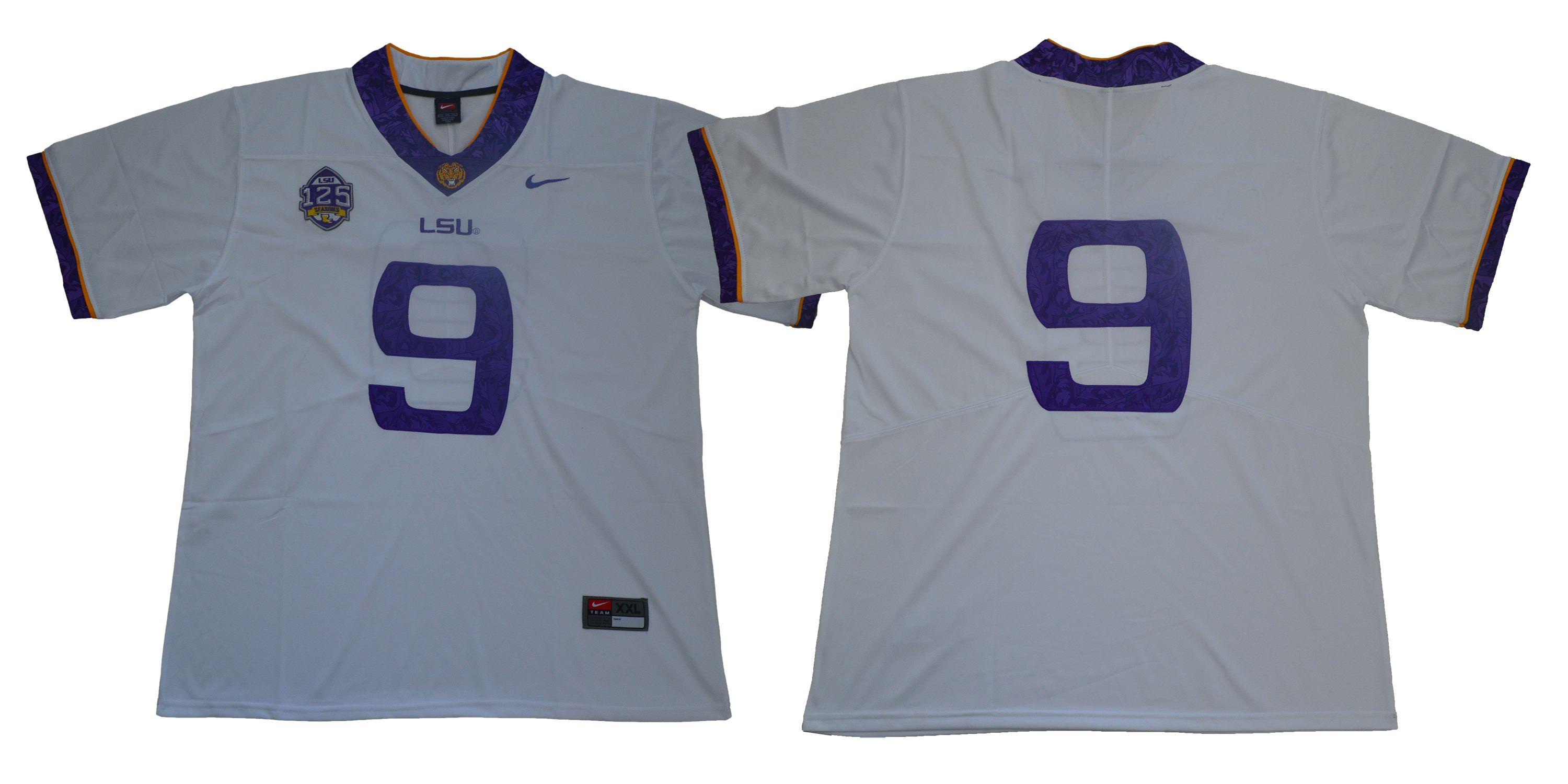 Men LSU Tigers 9 No name White Stitched NCAA Jersey