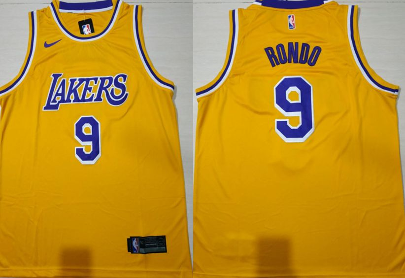 Men Los Angeles Lakers 9 Rondo Yellow Stitched NBA Jersey