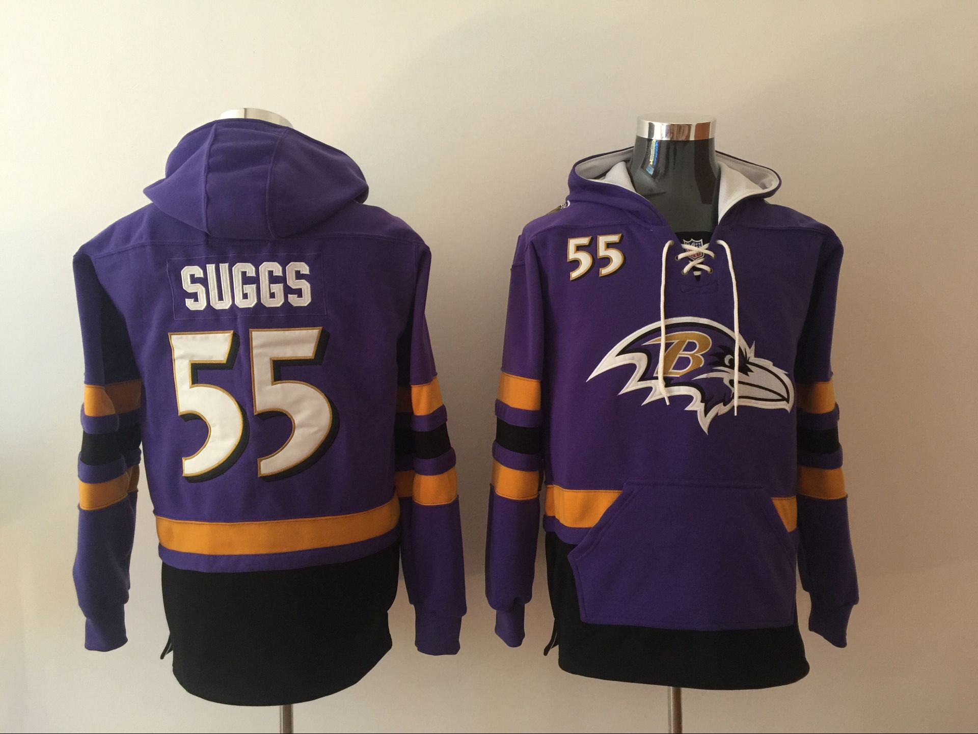 Men NFL Nike Baltimore Ravens 55 Suggs Purple Sweatshirts
