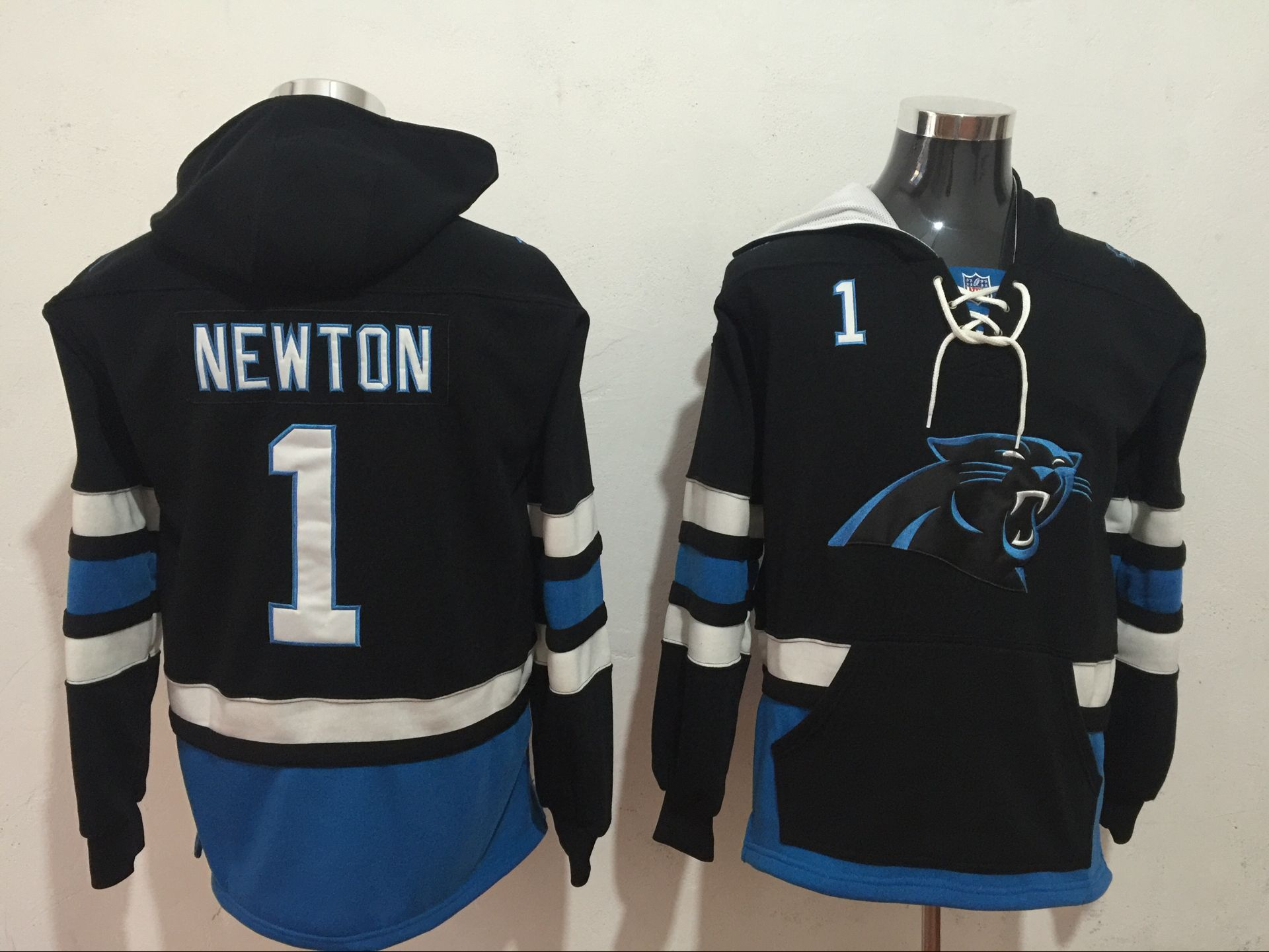 Men NFL Nike Carolina Panthers 1 Newton black Sweatshirts
