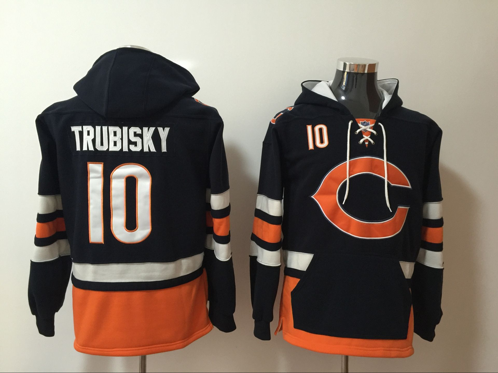 Men NFL Nike Chicago Bears 10 Trubisky blue Sweatshirts
