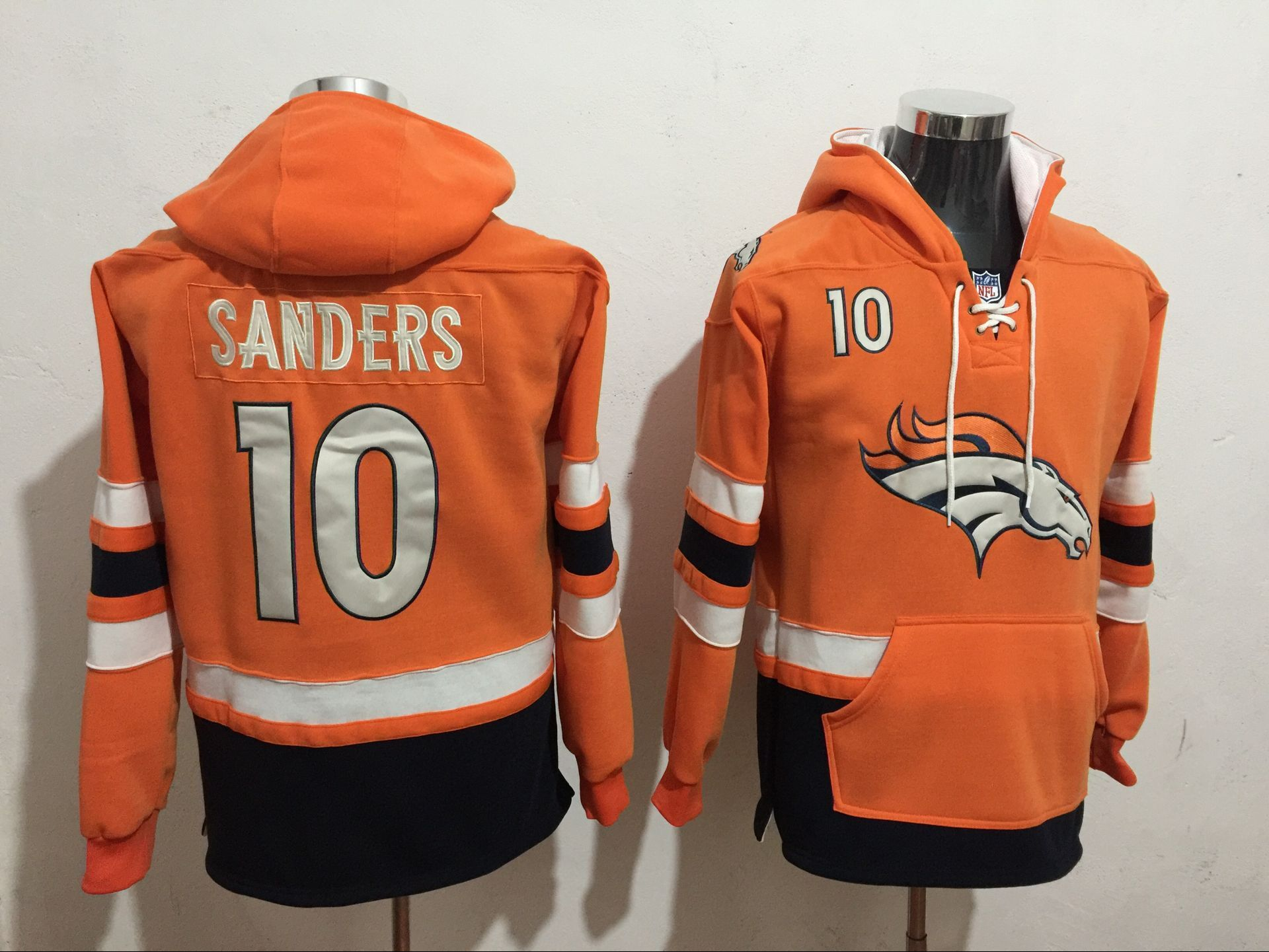 Men NFL Nike Denver Broncos 10 Sanders orange Sweatshirts