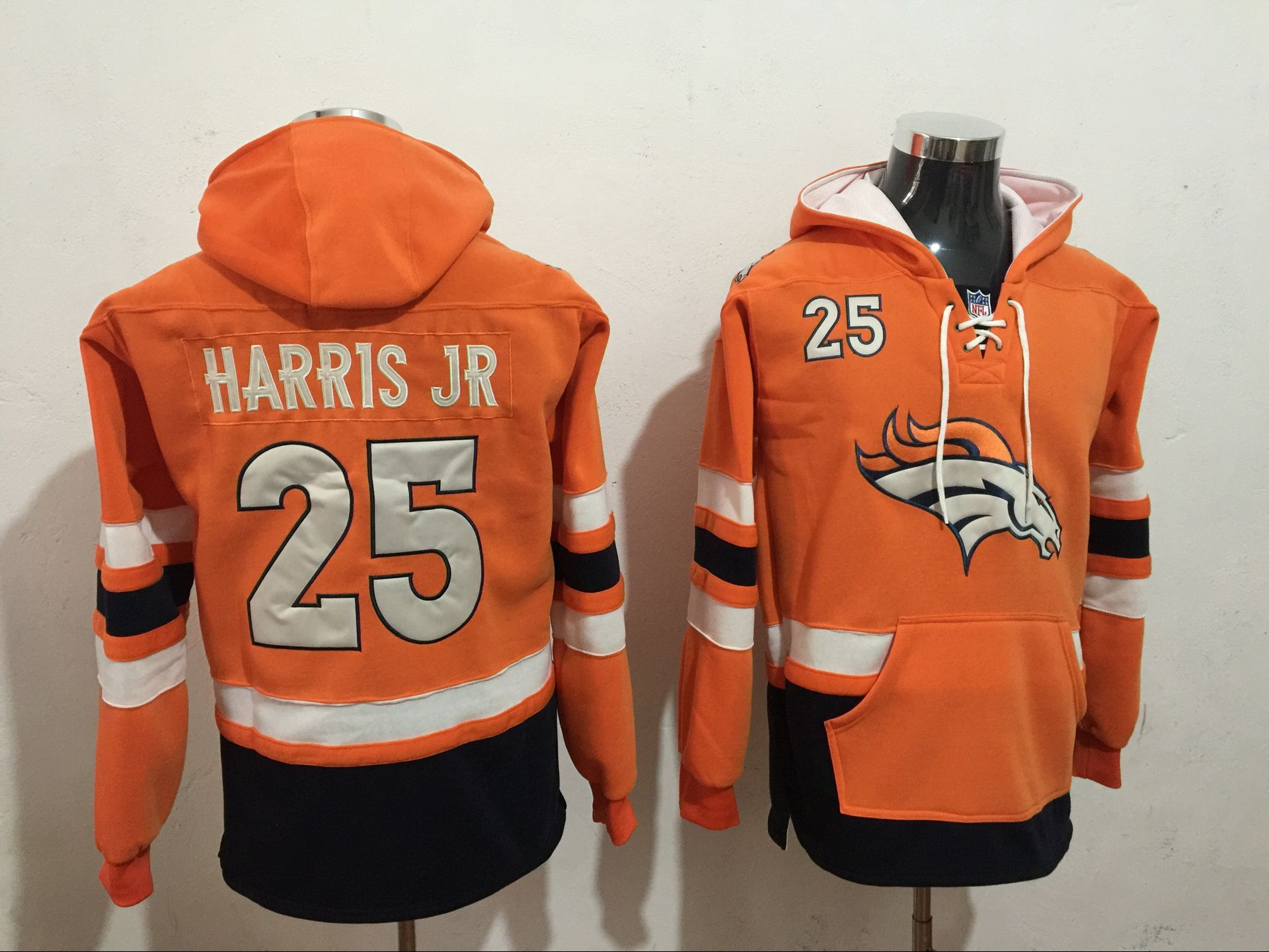 Men NFL Nike Denver Broncos 25 Harris Jr orange Sweatshirts