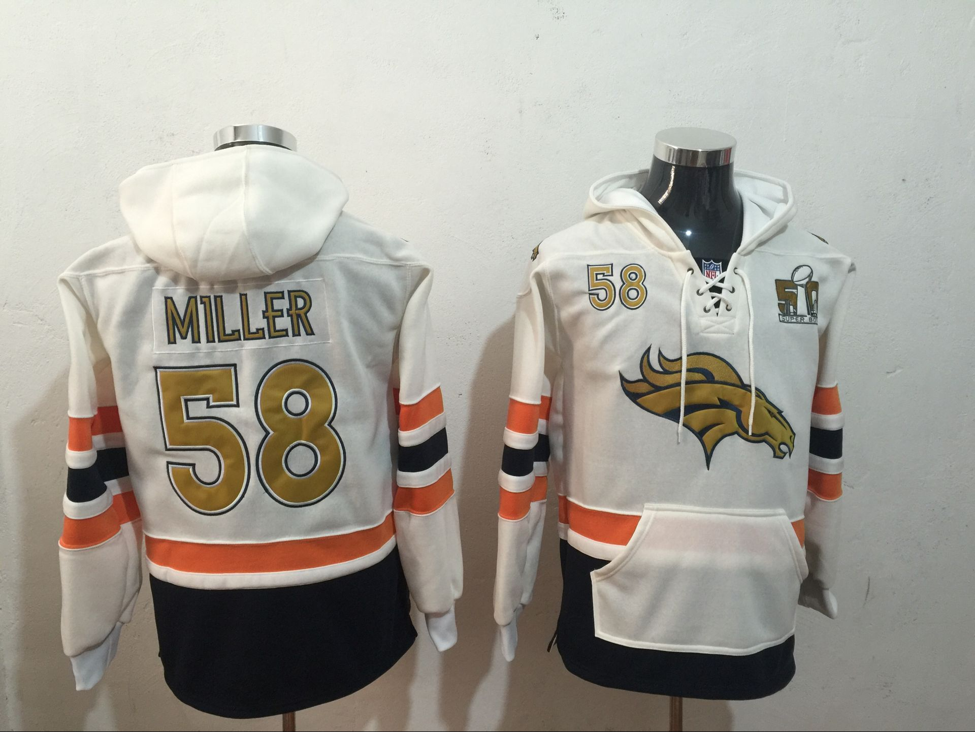 Men NFL Nike Denver Broncos 58 Miller white Sweatshirts