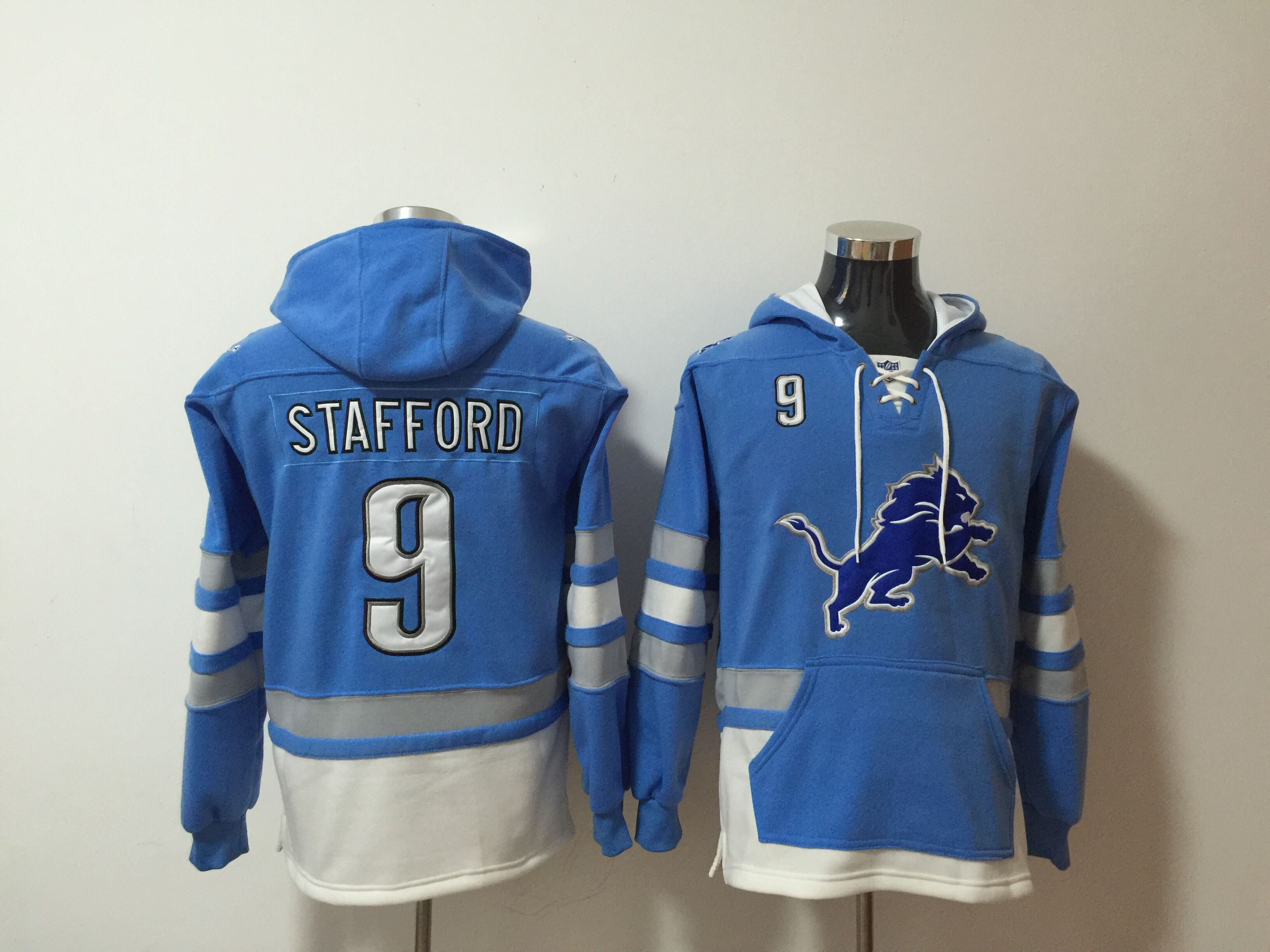 Men NFL Nike Detroit Lions 9 Stafford blue Sweatshirts