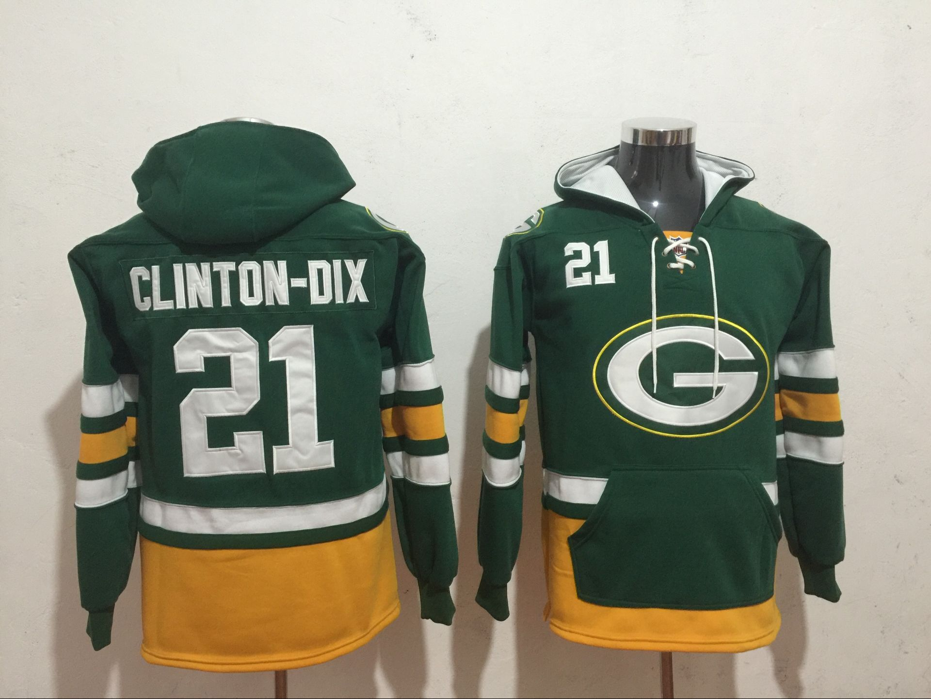 Men NFL Nike Green Bay Packers 21 Clinton Dix Green Sweatshirts