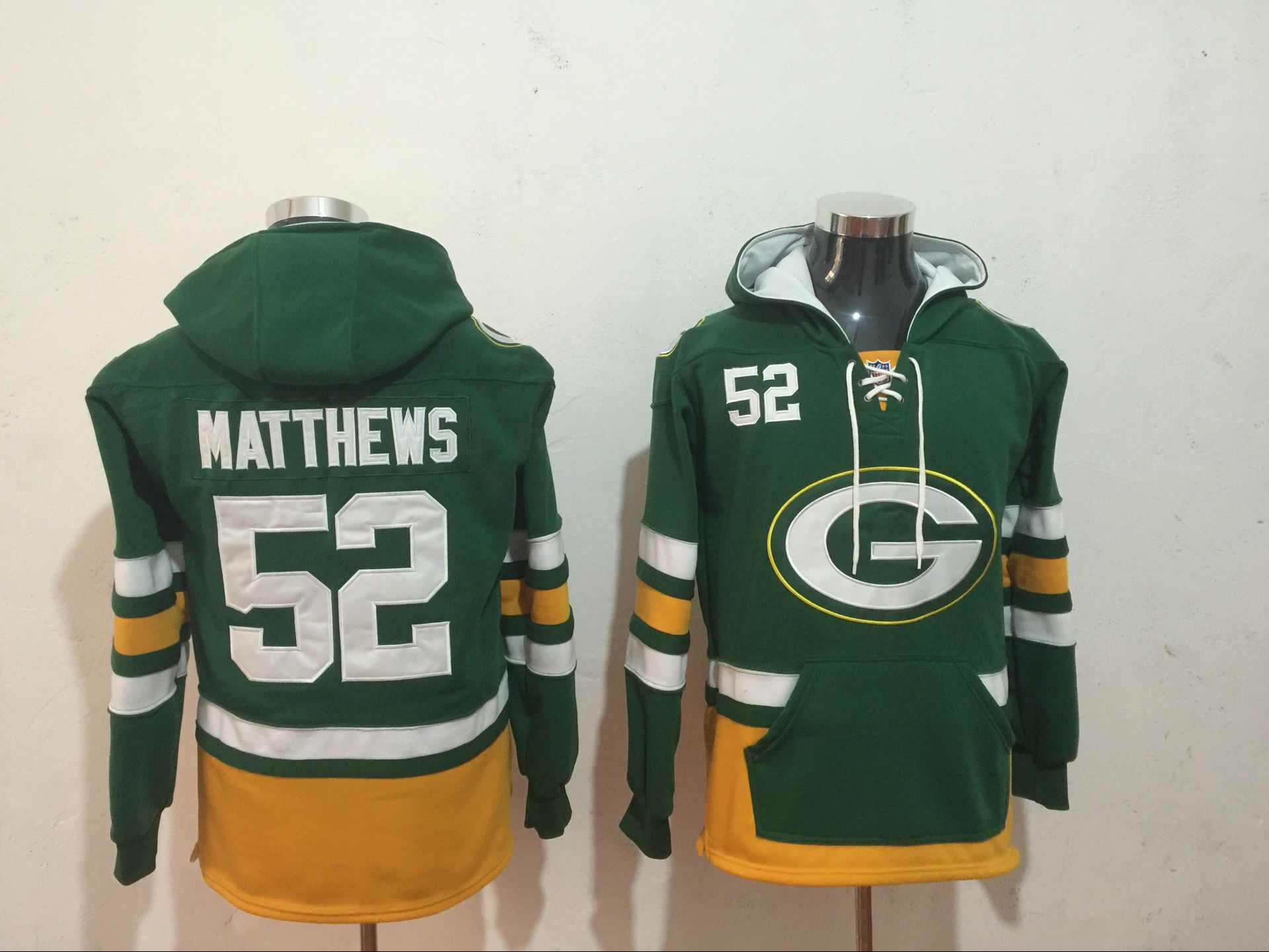 Men NFL Nike Green Bay Packers 52 Matthews green Sweatshirts