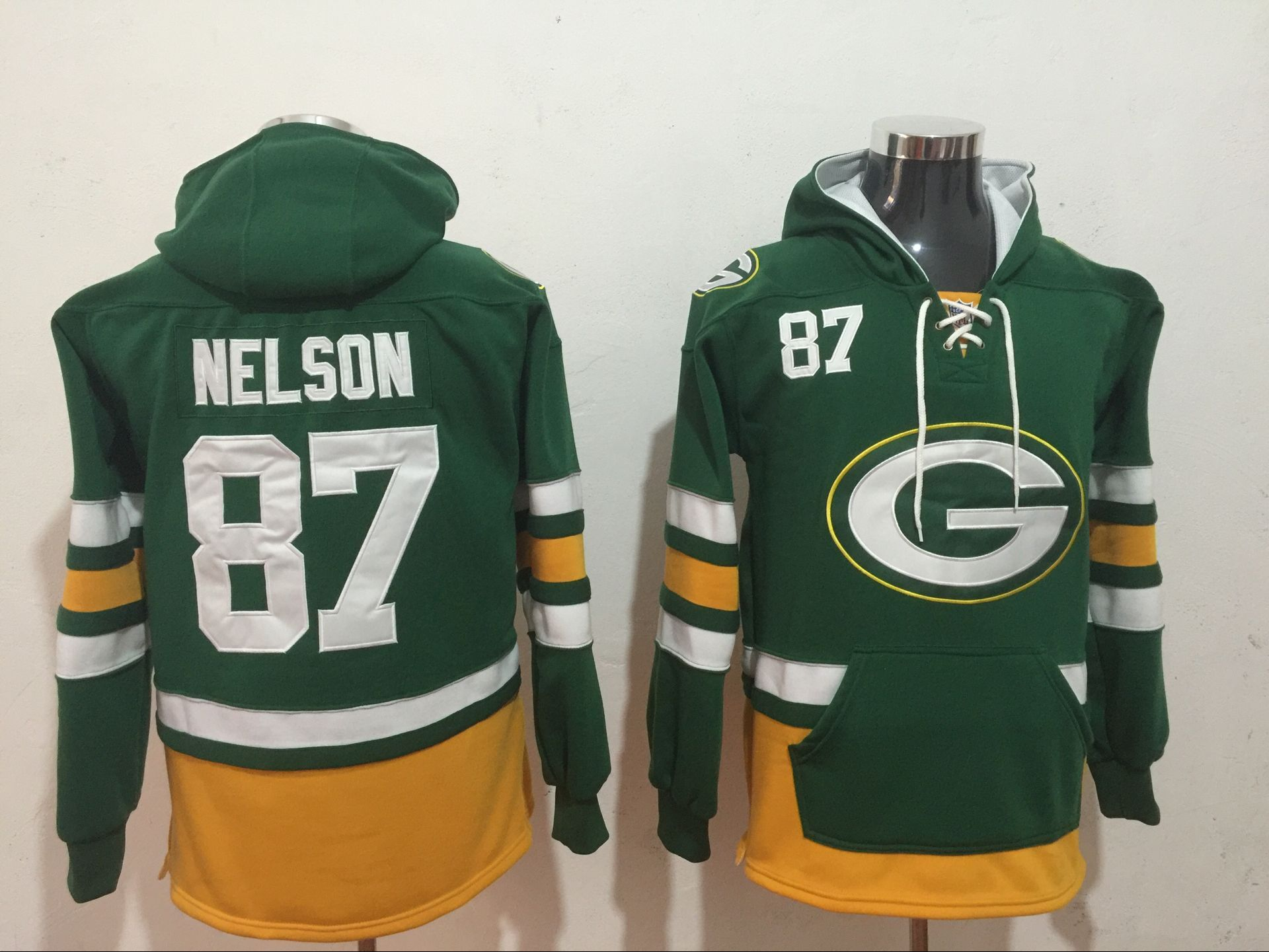 Men NFL Nike Green Bay Packers 87 Nelson green Sweatshirts