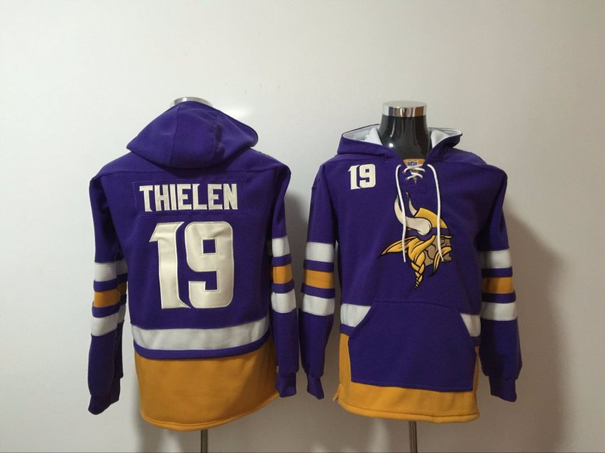 d00b8fe9a Men NFL Nike Minnesota Vikings 19 Thielen purple Sweatshirts
