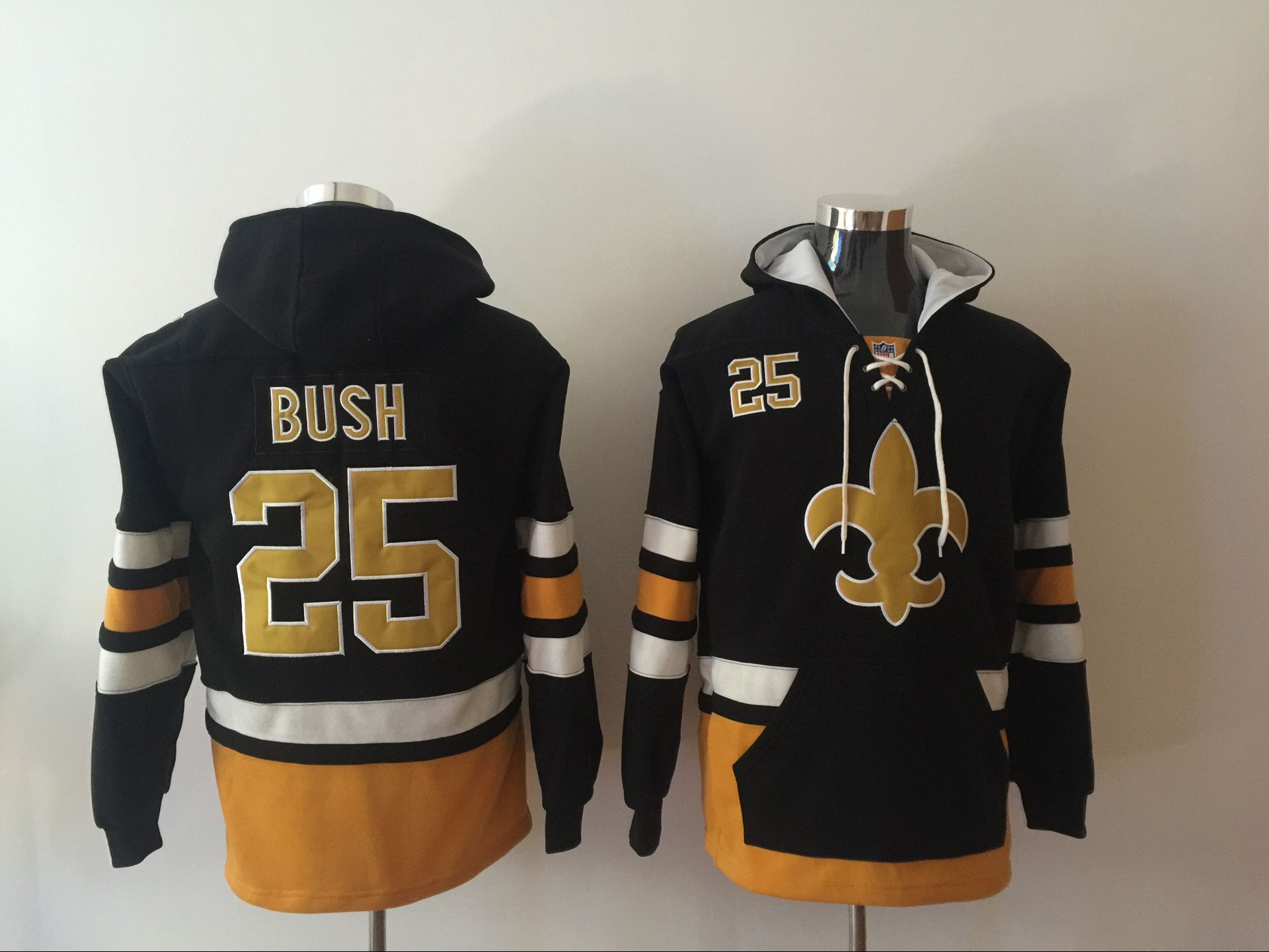 Men NFL Nike New Orleans Saints 25 Bush black Sweatshirts