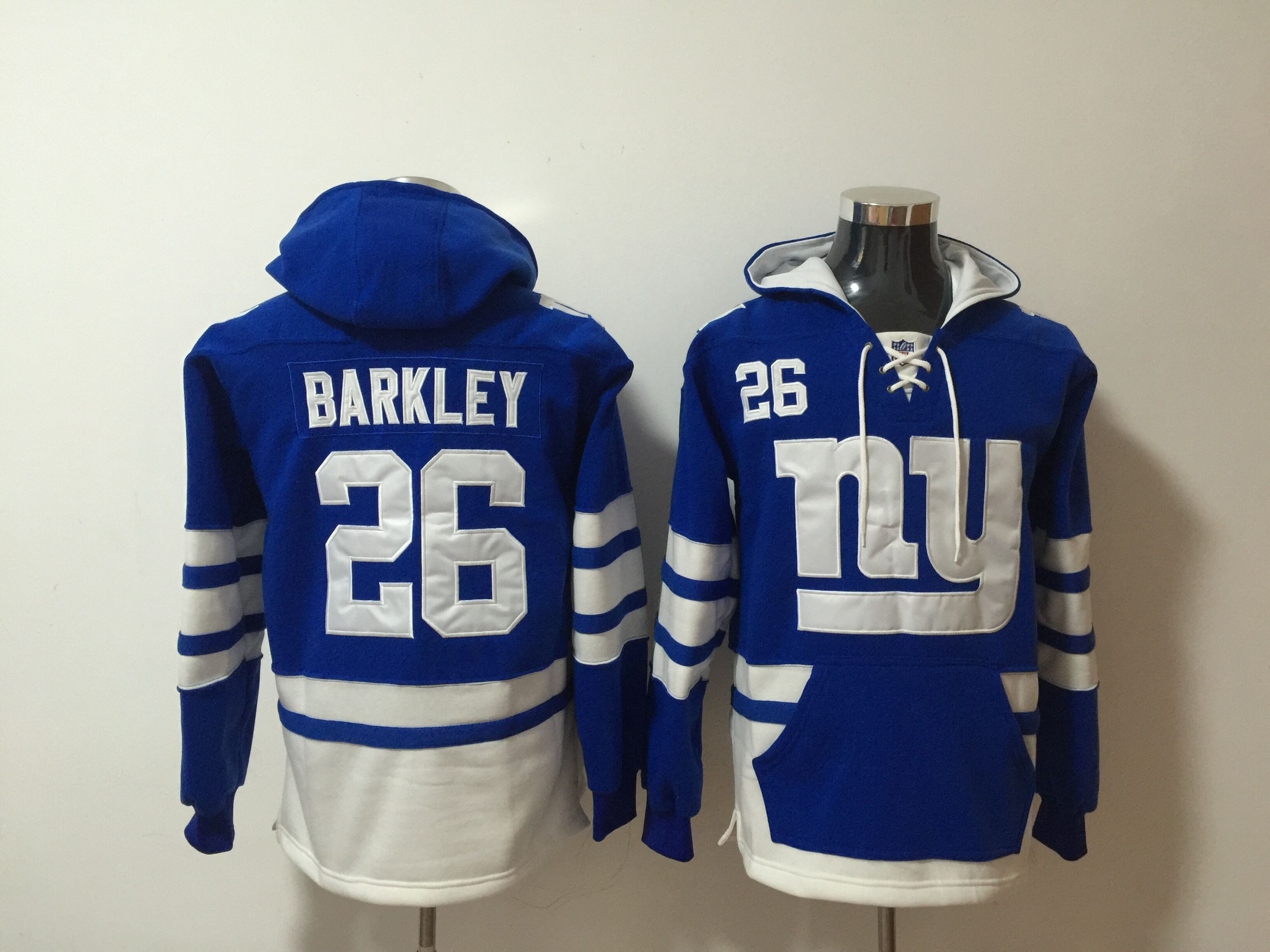 Men NFL Nike New York Giants 26 Barkley blue Sweatshirts