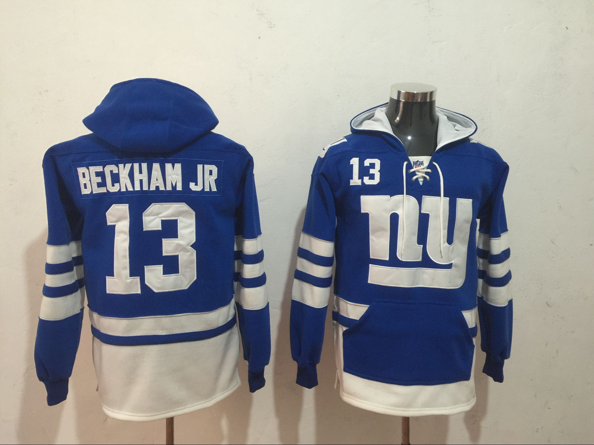 Men NFL Nike New York Giants 13 Beckham Jr blue Sweatshirts