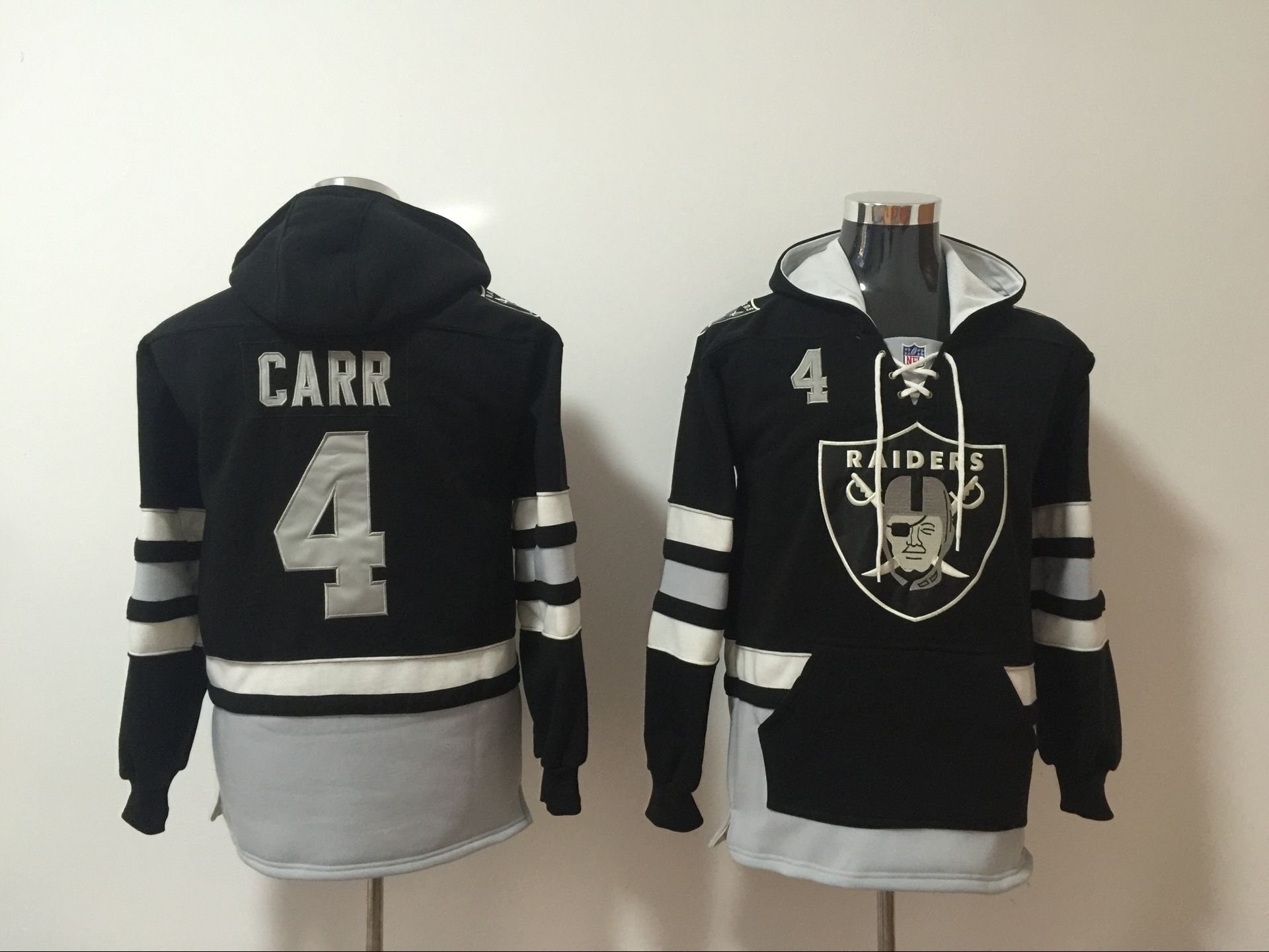 Men NFL Nike Oakland Raiders 4 Carr black Sweatshirts