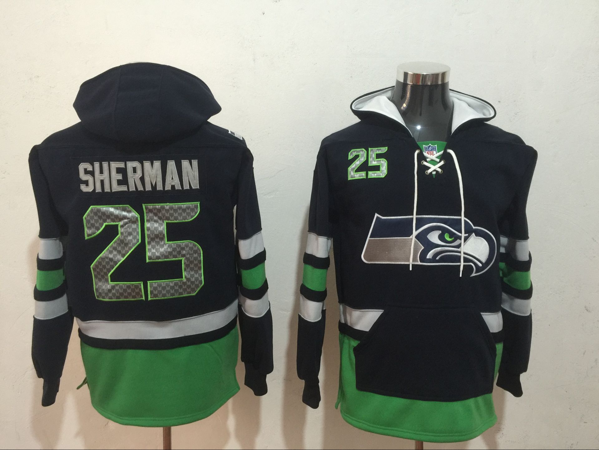 Men NFL Nike Seattle Seahawks 25 Sherman black Sweatshirts