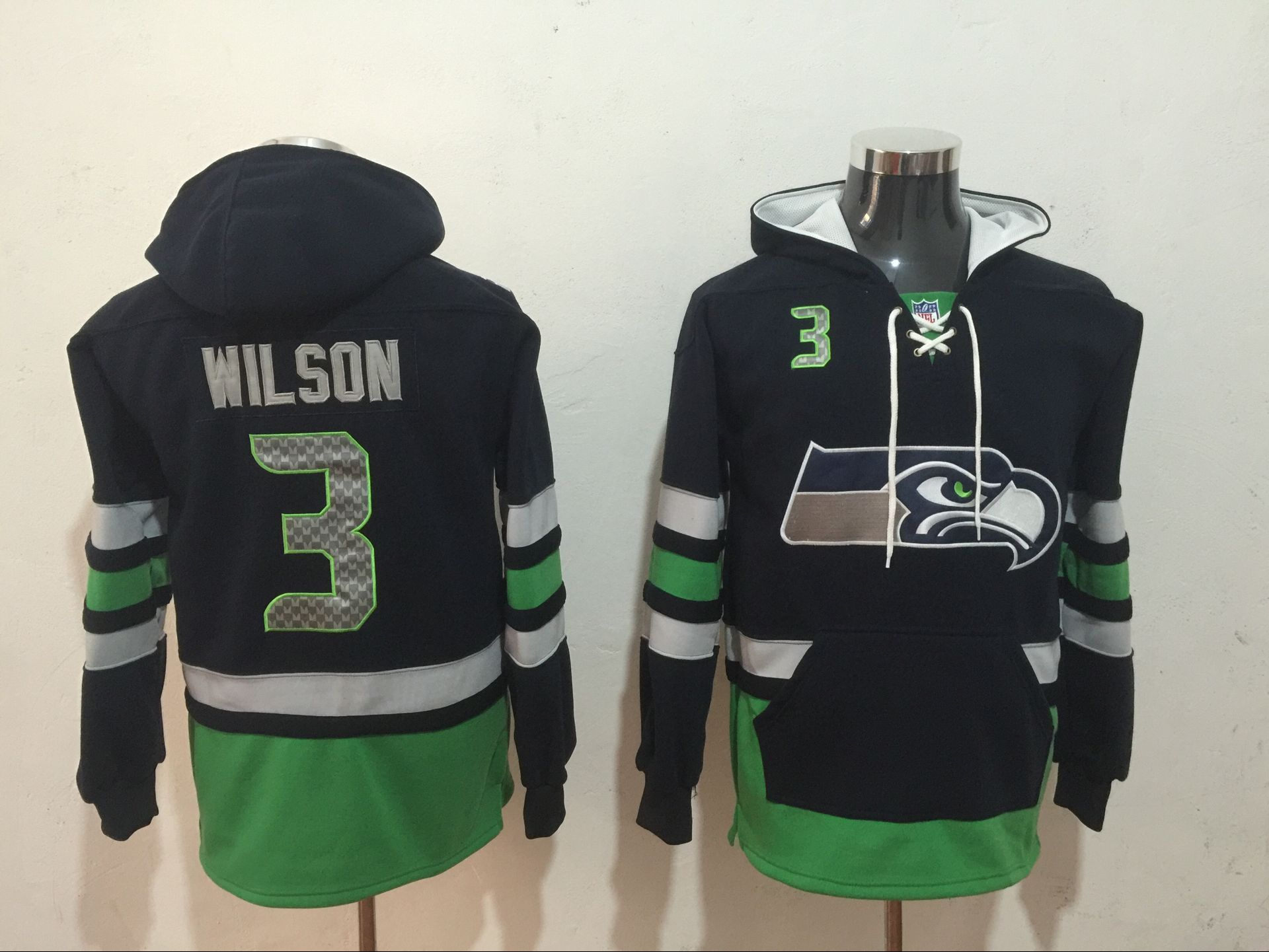 Men NFL Nike Seattle Seahawks 3 Wilson black Sweatshirts