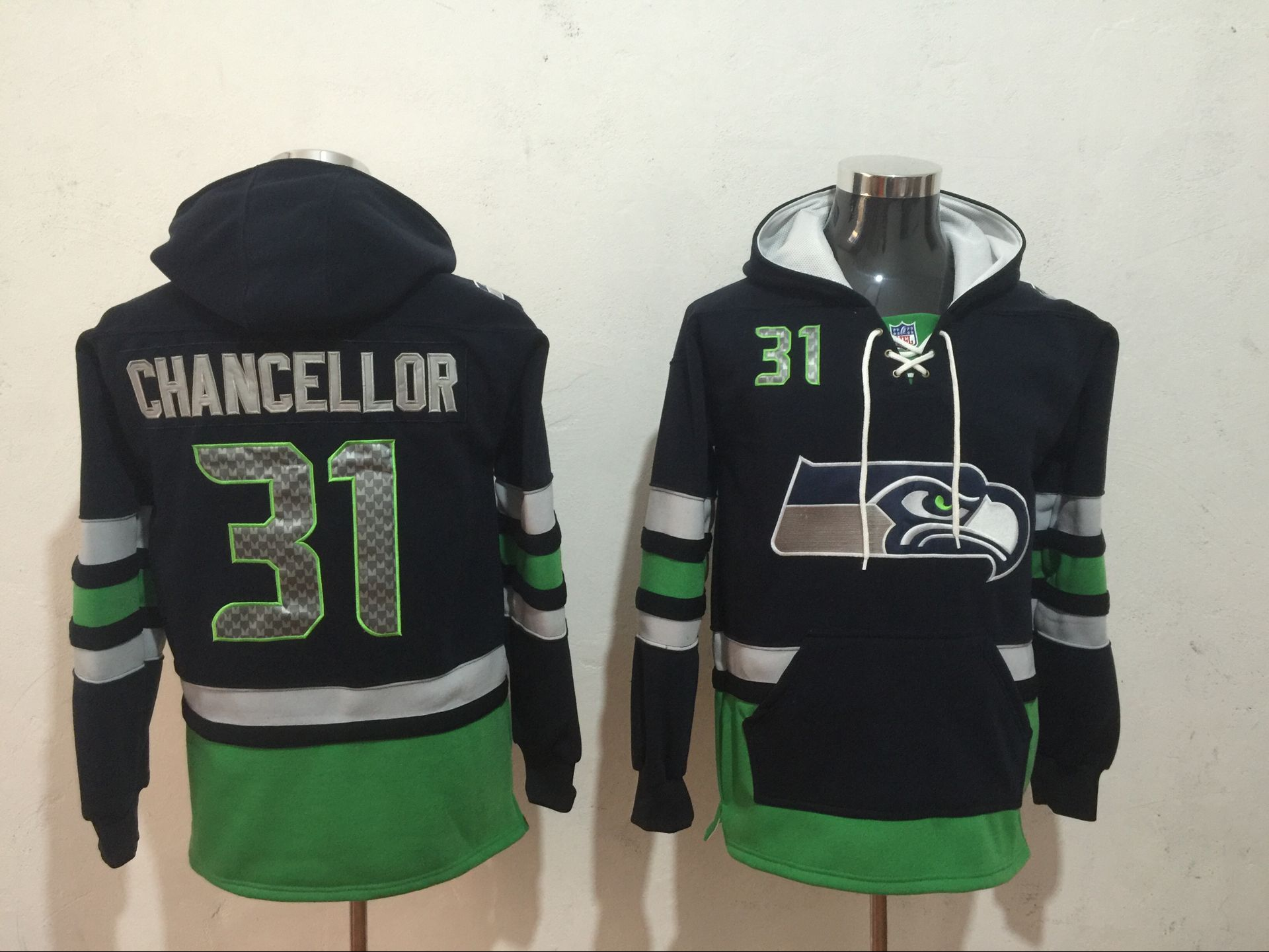 Men NFL Nike Seattle Seahawks 31 Chancellor black Sweatshirts