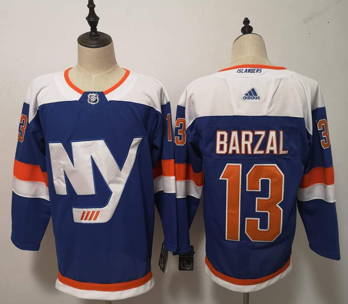 Men New York Islanders 13 Barzal Blue Adidas Alternate Authentic Stitched NHL Jersey