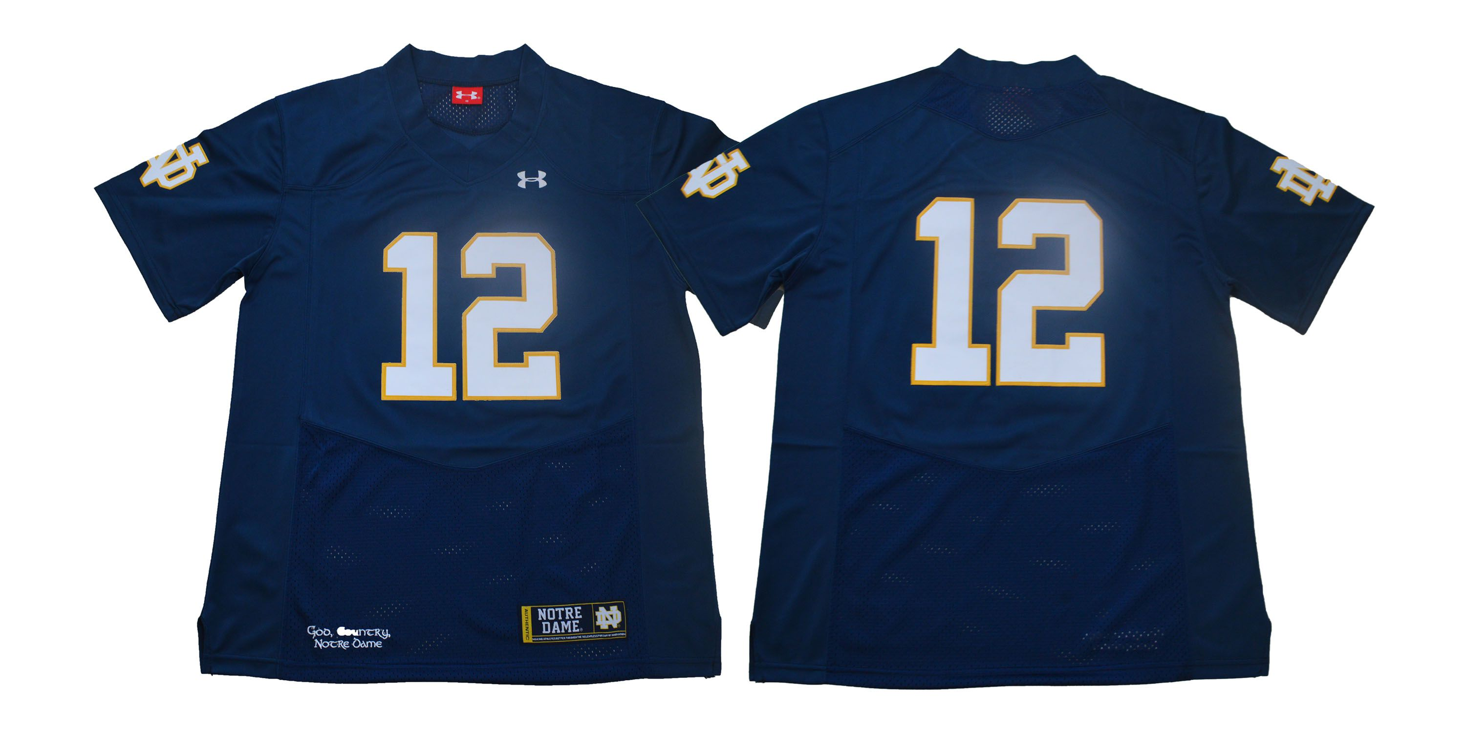 Men Norte Dame Fighting Irish 12 No name Dark Blue Stitched NCAA Jersey