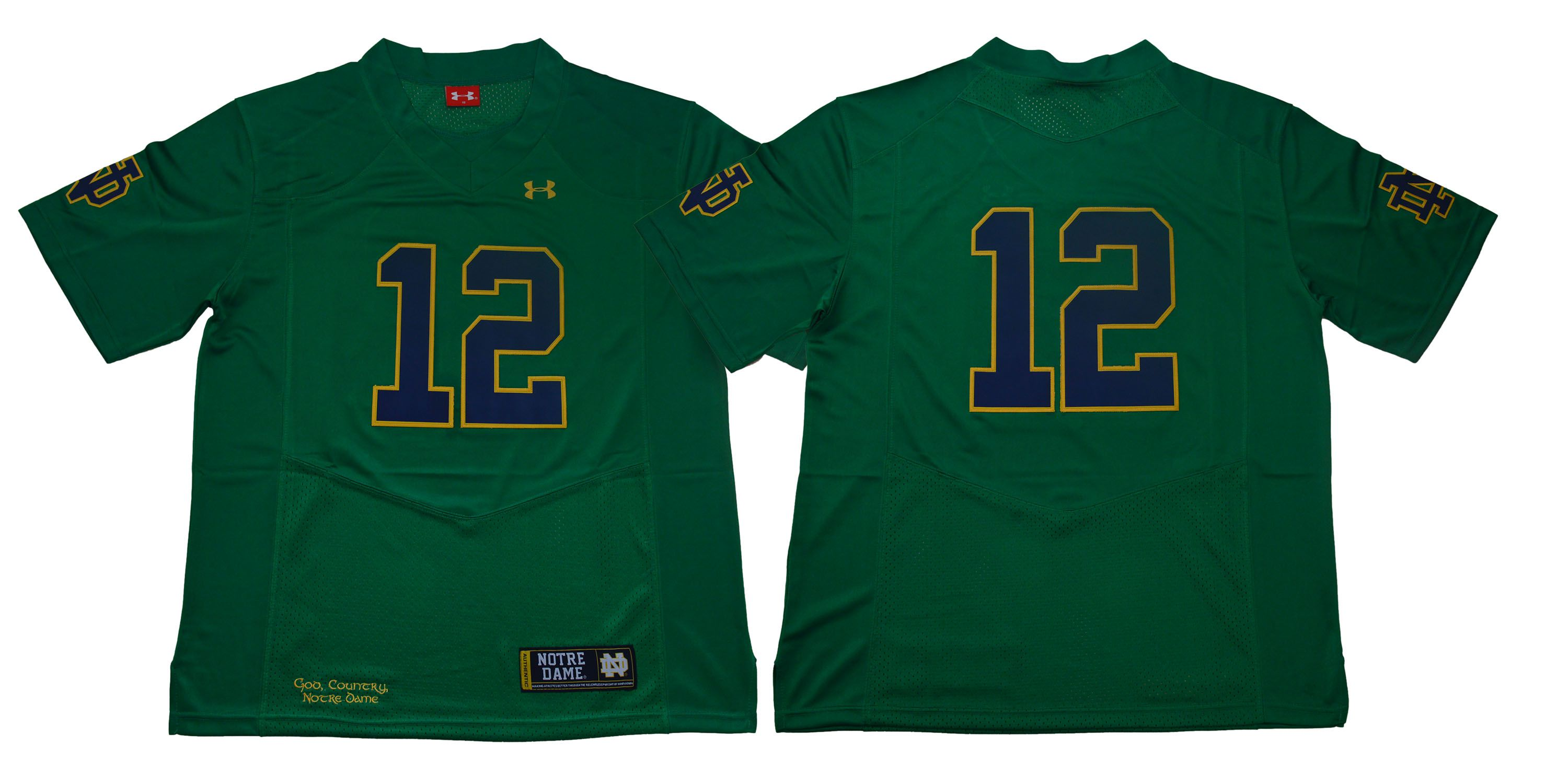 Men Norte Dame Fighting Irish 12 No name Green Stitched NCAA Jersey